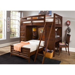 Liberty Chelsea Square Twin-Over-Twin Loft Bunk Bed with Cork Board Headboard