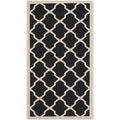 Safavieh Contemporary Indoor/ Outdoor Courtyard Black/ Beige Rug (2' x 3'7)