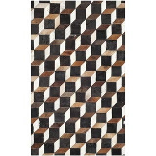 Safavieh Hand-woven Studio Leather Brown/ Ivory Leather Rug (4' x 6')