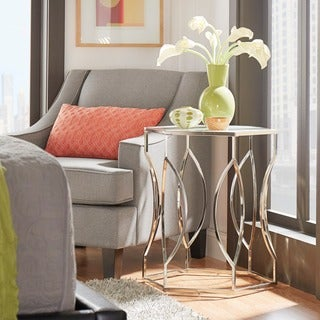 INSPIRE Q Davlin Hexagonal Metal Frosted-glass Accent End Table