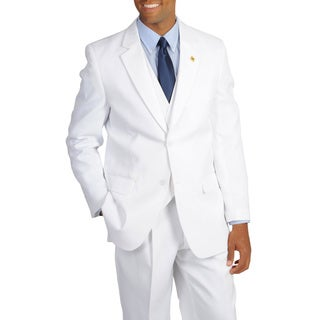 Stacy Adams Men's Solid White 3-piece Suit