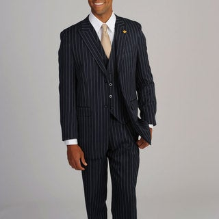 Stacy Adams Men's Navy/White Stripe 3-piece Suit