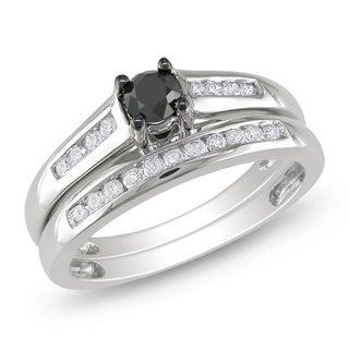Miadora 14k White Gold 1/2ct TDW Black and White Diamond Bridal Ring Set