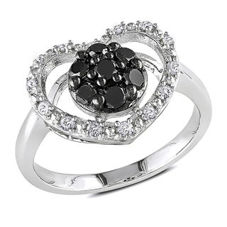 Haylee Jewels Sterling Silver 1/2ct TDW Black and White Diamond Heart Ring