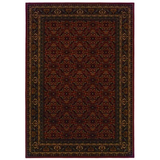 Traditional Red/ Black Area Rug (5'3 x 7'6)
