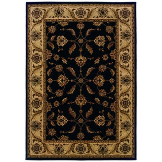 Traditional Black/ Ivory Area Rug (5'3 x 7'6)