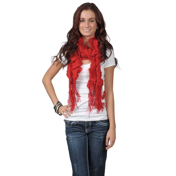 Journee Collection Women's Crochet Fringed Scarf