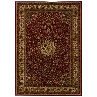 Traditional Red/ Ivory Area Rug (5'3 x 7'6)