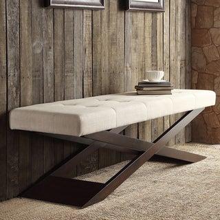 INSPIRE Q Bosworth Beige Linen Wood X Base Bench