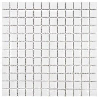 SomerTile 11.75x11.75-in Polar Square 1-in White Porcelain Mosaic Tile (Pack of 10)