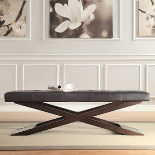 INSPIRE Q Bosworth Dark Brown Faux Leather Wood X Base Bench
