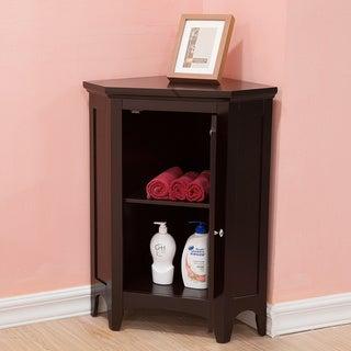 Bayfield Espresso Shutter Door Corner Floor Cabinet