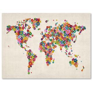Michael Tompsett 'Flowers World Map' Canvas Art