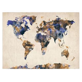 Michael Tompsett 'Watercolor Map 3' Canvas Art