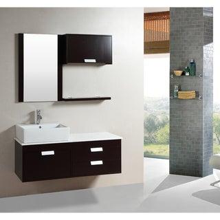 Kokols 51.5-inch Wall-mount Espresso Finished Floating Bathroom Vanity Set