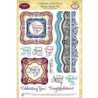 """JustRite Stampers 6""""X8"""" Clear Stamp Set-Celebrations Labels One 16pc"""