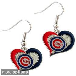 MLB Swirl Heart Shape Dangle logo Earring Set