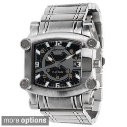 Geneva Platinum Men's Square Face Polished Link Watch