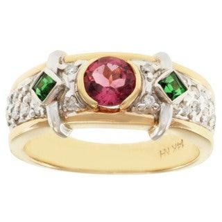 Michael Valitutti 14k Two-tone Gold Pink Tourmaline, Tsavorite and Diamond Ring