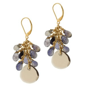 Michael Valitutti Gold over Silver Smoky Quartz and Iolite Earrings