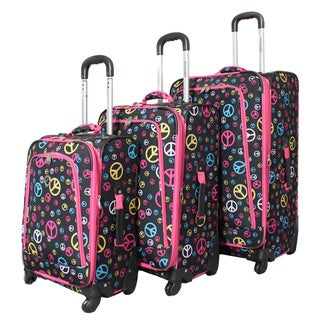 Rockland Deluxe Peace 3-piece Spinner Upright Luggage Set