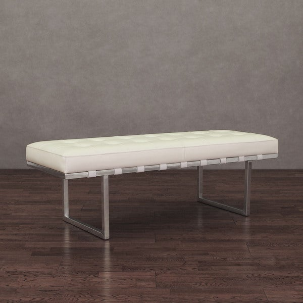 White Stainless Steel Modern Leather Button Tufted Bench Ottoman Seat Furniture Ebay