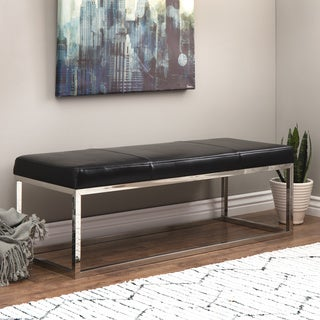 Manhattan Black and Stainless Steel Modern Leather Bench