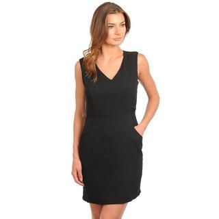 Stanzino Women's Sleeveless V-neck Black Structured Dress