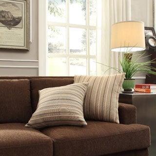INSPIRE Q Clybourn 18-inch Toss Mocha Brown Stripe Accent Pillow (Set of 2)