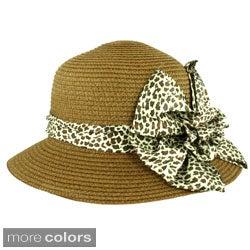 Faddism Women's Summer Ribbon Straw Hat (One Size)