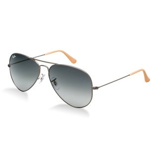 Ray-Ban Men's Large Aviator Gunmetal Sunglasses with Carrying Case