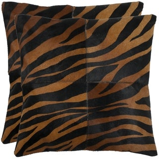 Safavieh Cowhide Raquel 22-inch Black/ Brown Feather and Down Filled Decorative Pillows (Set of 2)