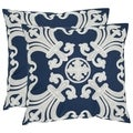 Safavieh Collette 22-inch Navy/ Blue Decorative Pillows (Set of 2)