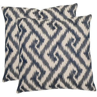 Safavieh Teddy 18-inch Blue Feather Decorative Pillows (Set of 2)