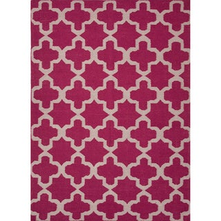 Handmade Flat-weave Geometric Pattern Pink/ Purple Area Rug (9' x 12')