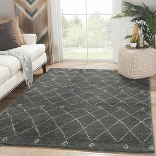 Hand-knotted Contemporary Moroccan Pattern Blue Rug (9' x 12')