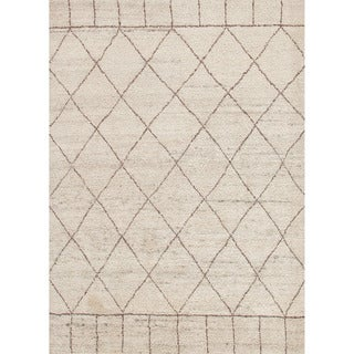 Hand-knotted Contemporary Moroccan Pattern Brown Rug (9' x 12')