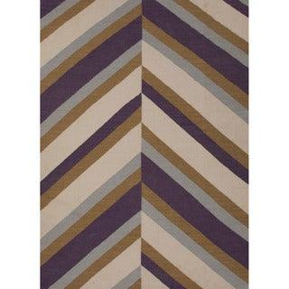 Handmade Flat Weave Stripe Pattern Pink/ Purple Wool Rug (9' x 12')