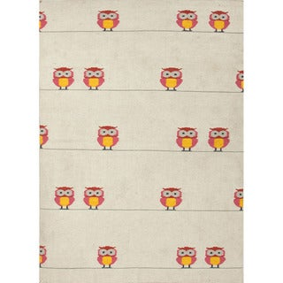 Handmade Flat Weave Animal Print Ivory/ Pink Rug (9' x 12')