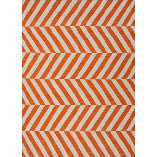 Handmade Flat Weave Stripe Pattern Orange Rug (9' x 12')