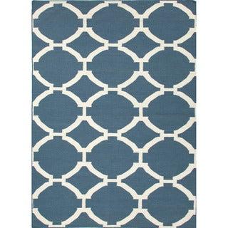 Durable Handmade Flat-weave Geometric-pattern Blue Rug (8' x 10')