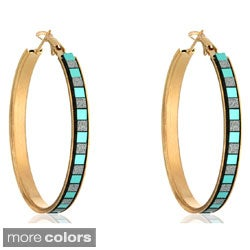 Dolce Giavonna Goldtone Multi-Color Glitter Hoop Earrings