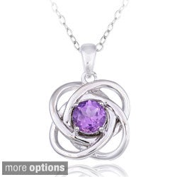 Glitzy Rocks Silver Gemstone Love Knot Necklace
