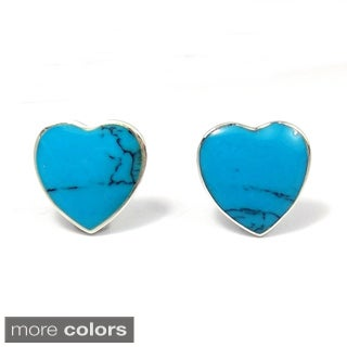 Inlaid Gemstone Charming Heart .925 Silver Stud Earrings (Thailand)