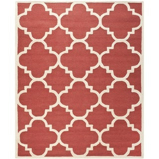 Safavieh Handmade Moroccan Cambridge Rust/ Ivory Geometric Wool Rug (8' x 10')