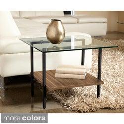 Jesper Office Modern Glass Side table with Shelf