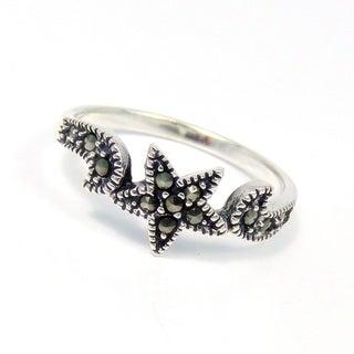 Captivating Star Marcasite Gemstone .925 Silver Ring (Thailand)