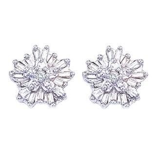 Sterling Silver 1/5ct TDW Baguette Diamond Flower Earrings (H-I, I3)