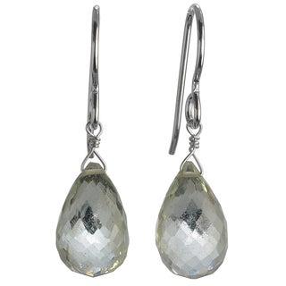 Ashanti Sterling Silver Mint Green Amethyst Faceted Teardrop Dangle Earrings (Sri Lanka)