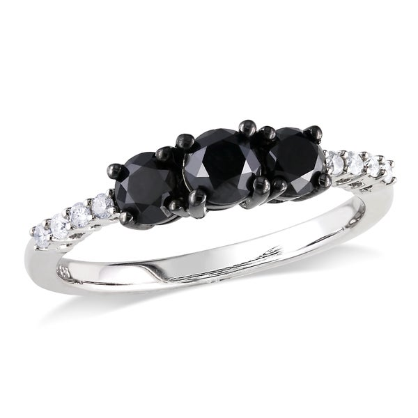 Haylee Jewels Sterling Silver 1ct TDW Black and White Diamond Three-stone Ring